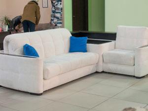 Угловой раскладной диван с механизмом аккордеон