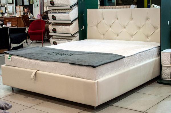 Кожаная кровать Amelie белая