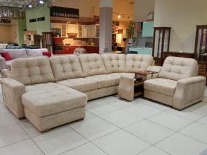 Большой респектабельный модульный диван с электро-реклайнером и баром