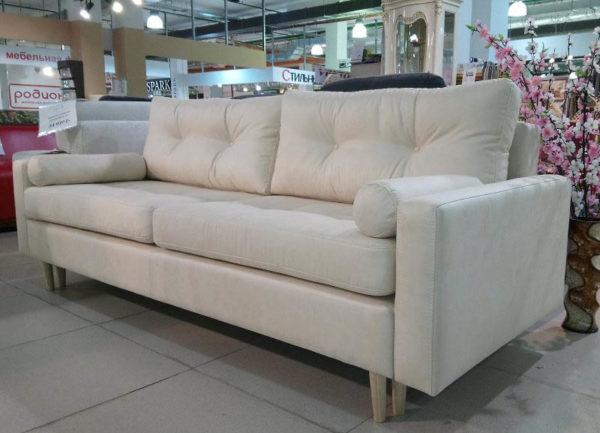 Белый диван еврокнижка с валиками