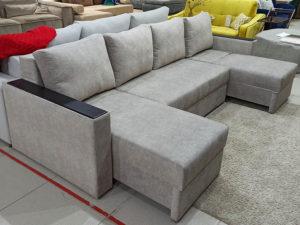 Роскошный большой мягкий диван-кровать на независимом пружинном блоке серый